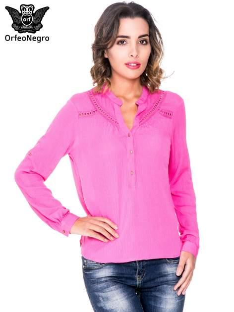Różowa koszula z ażurowaniem na górze                                  zdj.                                  1