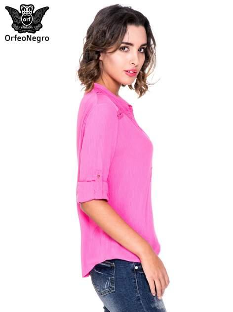 Różowa koszula z ażurowaniem na górze                                  zdj.                                  5
