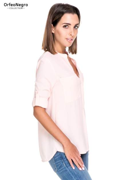 Różowa koszula z dużymi kieszeniami i dekoltem w serek                                  zdj.                                  5
