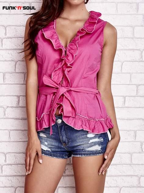 Różowa koszula z wiązaniem i falbankami FUNK N SOUL                                  zdj.                                  1