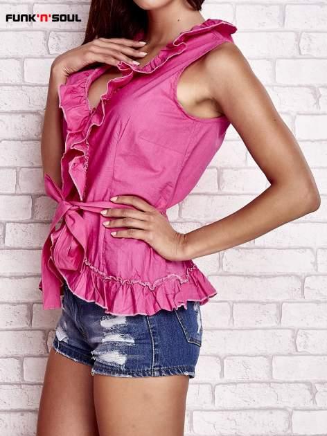 Różowa koszula z wiązaniem i falbankami FUNK N SOUL                                  zdj.                                  3