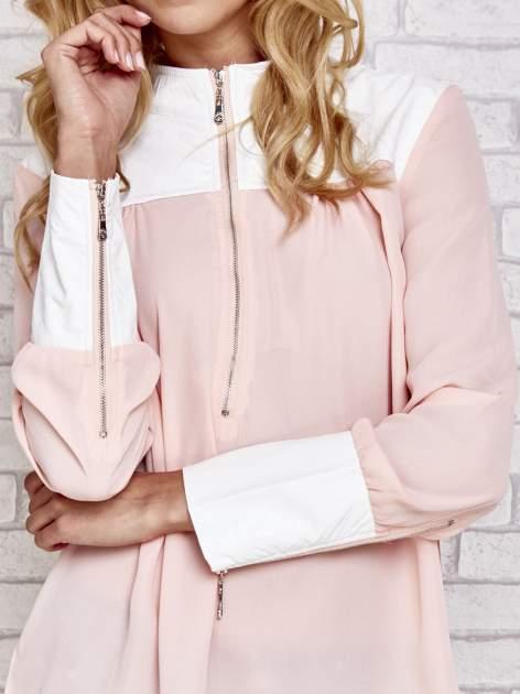 Różowa koszula ze skórzanymi pikowanymi wstawkami                                  zdj.                                  3