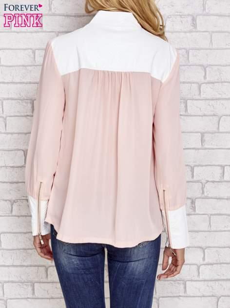 Różowa koszula ze skórzanymi pikowanymi wstawkami                                  zdj.                                  5