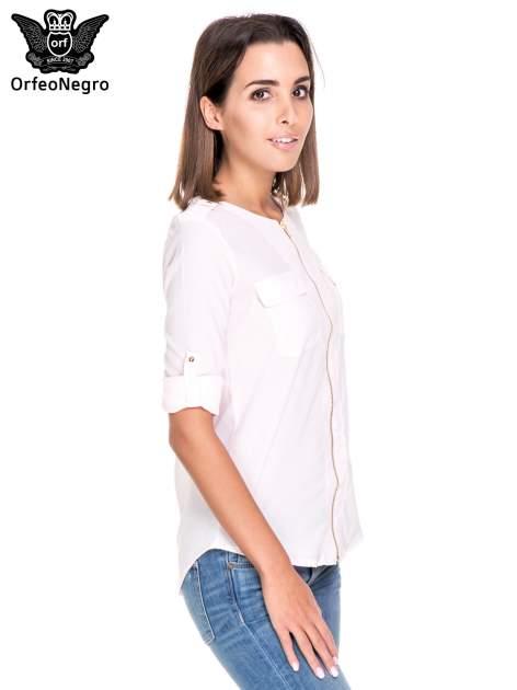 Różowa koszula ze złotym suwakiem i kieszonkami                                  zdj.                                  5