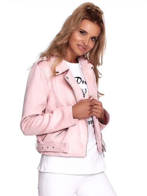 Różowa kurtka ramoneska damska                              zdj.                              3