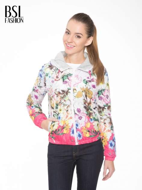 Różowa kwiatowa kurtka bomber jacket z kapturem