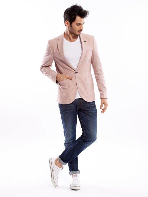 Różowa marynarka męska slim fit w drobny deseń                              zdj.                              11
