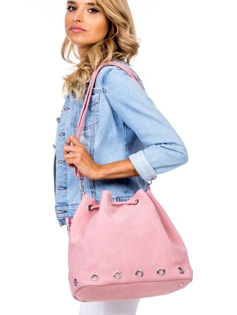Różowa miękka torba ze ściągaczem                              zdj.                              4