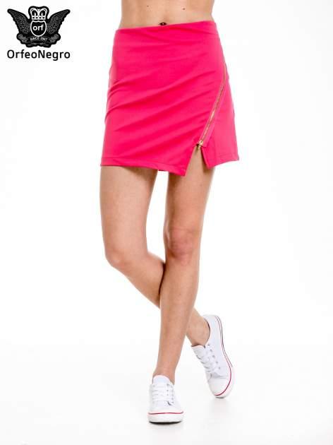 Różowa minispódnica z asymetrycznym suwakiem                                  zdj.                                  1