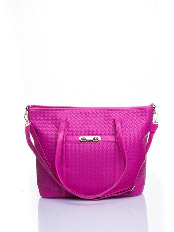 Różowa pleciona torba shopper bag ze złotym detalem                                  zdj.                                  1