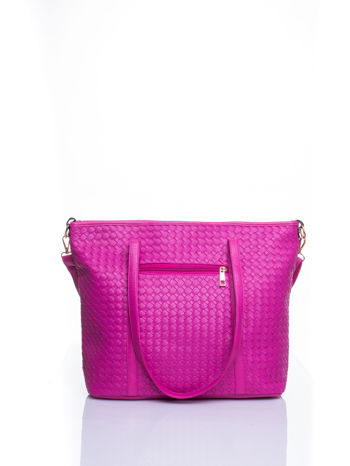 Różowa pleciona torba shopper bag ze złotym detalem                                  zdj.                                  3
