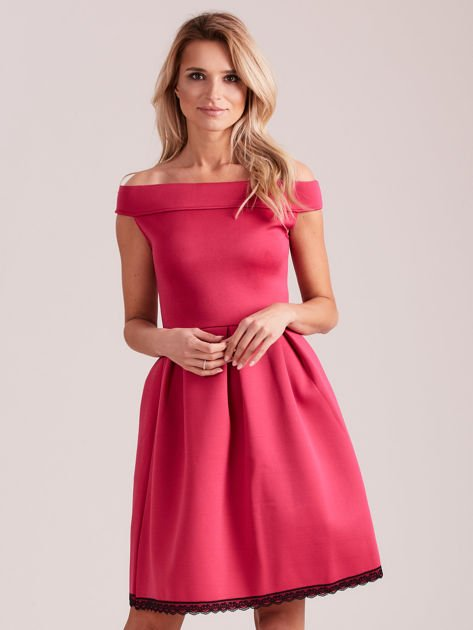 Różowa rozkloszowana sukienka z pianki                              zdj.                              1
