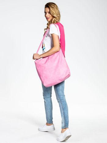 Różowa siateczkowa torba hobo                                  zdj.                                  2