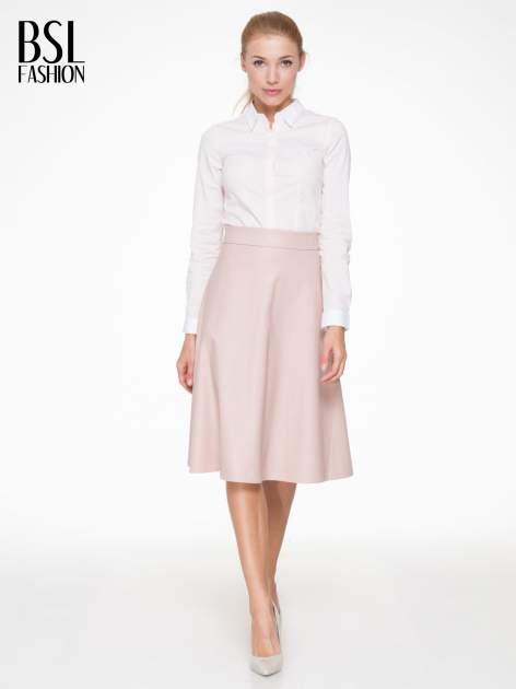 Różowa skórzana spódnica midi szyta z półkola                                  zdj.                                  2