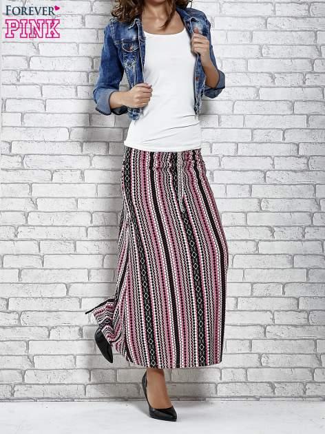 Różowa spódnica maxi w azteckie wzory                                  zdj.                                  2