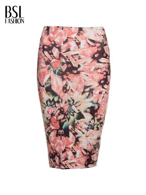 Różowa spódnica ołówkowa z nadrukiem diamond print                                  zdj.                                  2