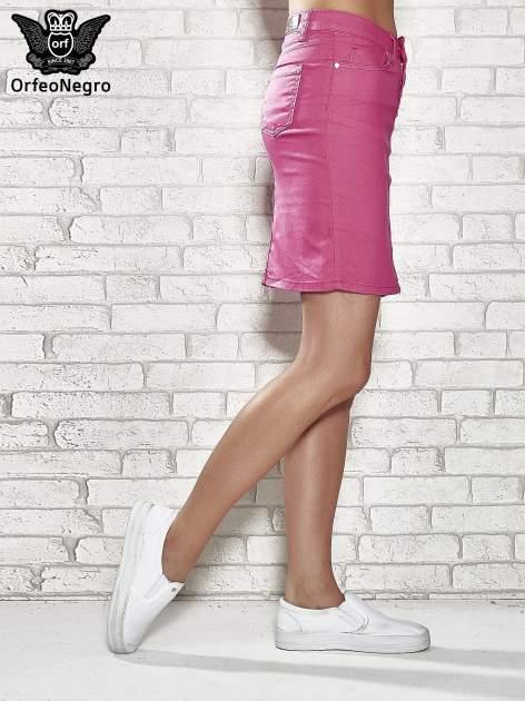 Różowa spódnica z zapięciem na guzik                                  zdj.                                  3