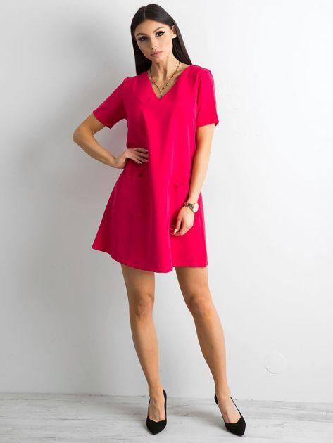 Różowa sukienka damska z kieszeniami                               zdj.                              4