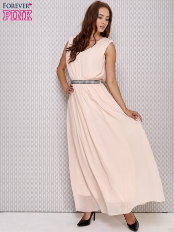 Różowa sukienka maxi z biżuteryjnym pasem                                  zdj.                                  2
