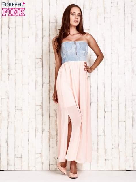 Różowa sukienka maxi z gorsetem z denimu                                  zdj.                                  2