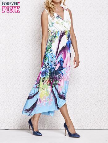 Różowa sukienka maxi z trójkątnym dekoltem                                  zdj.                                  3