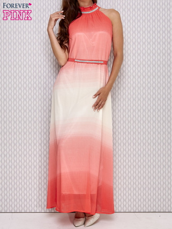Różowa sukienka maxi z wiązaniem na plecach                                  zdj.                                  1