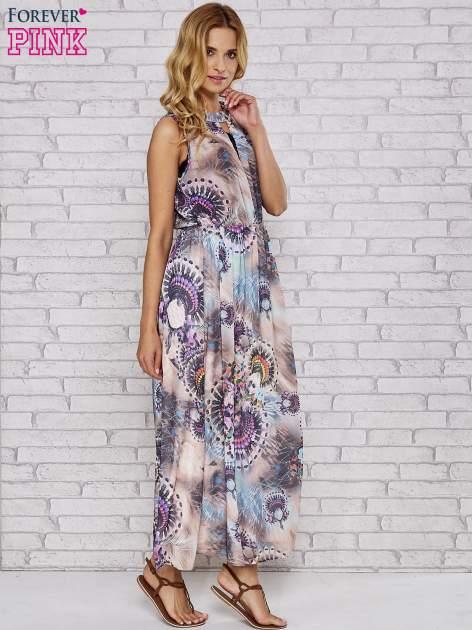 Różowa sukienka maxi z wycięciem na placach                                  zdj.                                  5