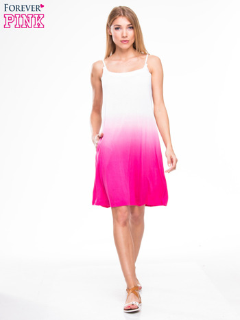 Różowa sukienka na ramiączka z efektem ombre                                  zdj.                                  4