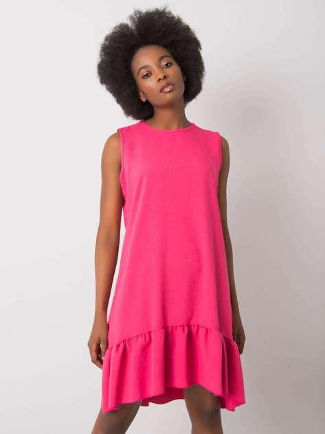 Różowa sukienka z falbaną Andre RUE PARIS