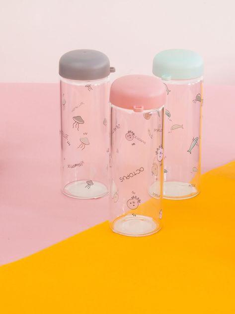 Różowa szklana butelka na napój                              zdj.                              1