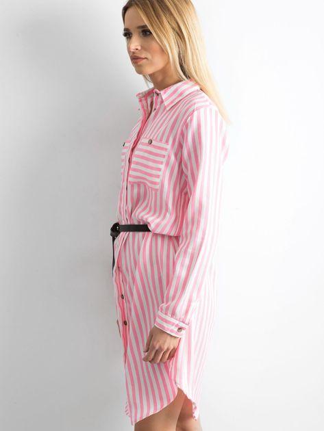 Różowa szmizjerka koszulowa w paski                              zdj.                              3