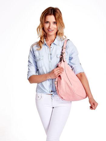 Różowa torba hobo z klamerkami