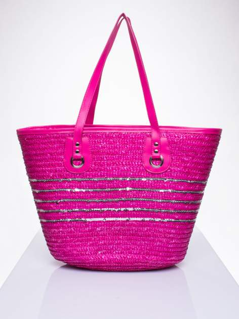 Różowa torba koszyk plażowy z cekinami
