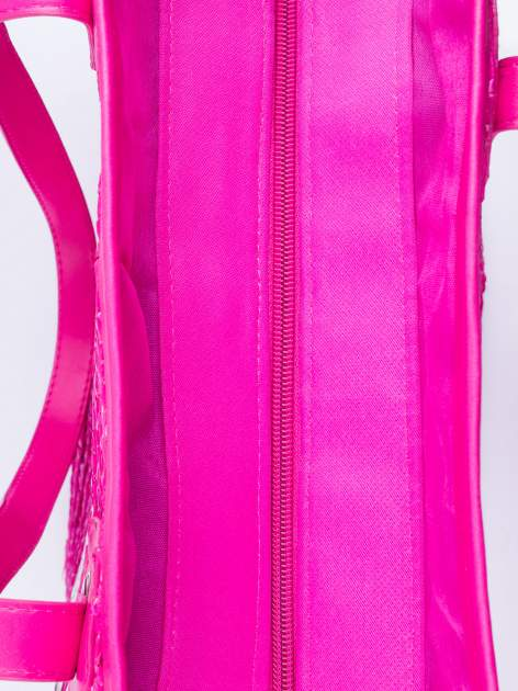 Różowa torba koszyk plażowy z cekinami                                  zdj.                                  5