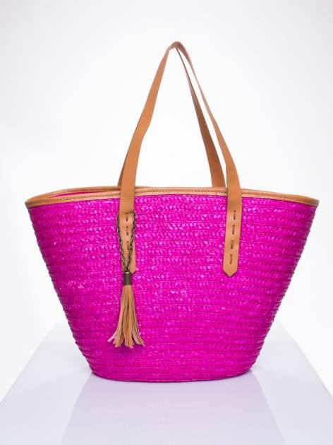 Różowa torba koszyk plażowy ze skórzanymi rączkami
