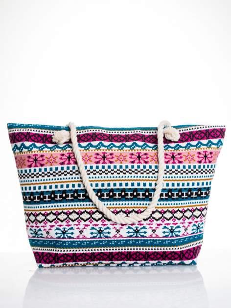 Różowa torba plażowa w azteckie wzory