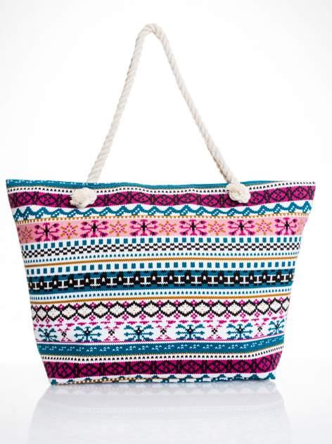 Różowa torba plażowa w azteckie wzory                                  zdj.                                  5
