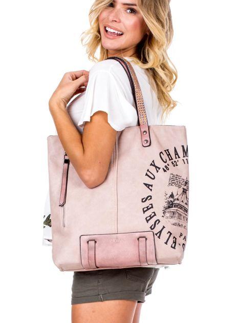 Różowa torba z nadrukiem                               zdj.                              1