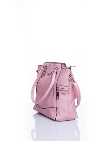 Różowa torba ze złotymi wykończeniami                                  zdj.                                  4