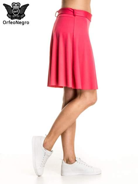 Różowa trapezowa spódnica z paskiem z klamrą                                  zdj.                                  3