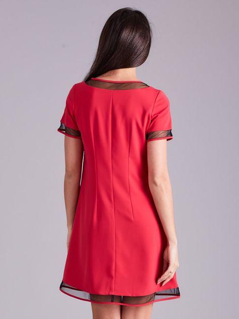 Różowa trapezowa sukienka                              zdj.                              2
