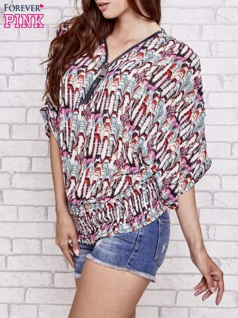 Różowa wzorzysta koszula nietoperz z suwakiem                                  zdj.                                  3
