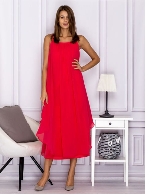 Różowa zwiewna sukienka maxi                              zdj.                              1