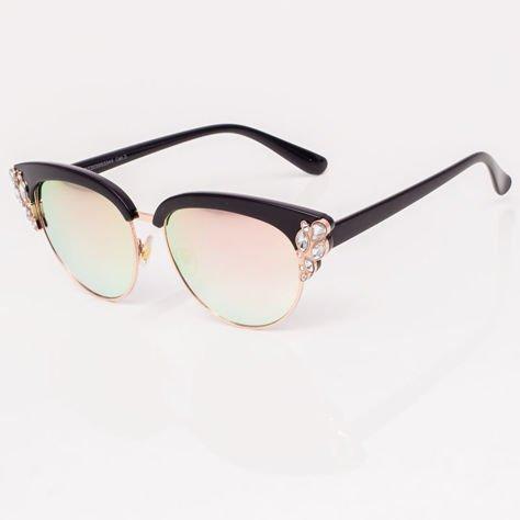 Różowe Lustrzane Okulary przeciwsłoneczne z Kryształami                              zdj.                              4