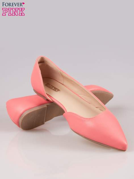 Różowe baleriny faux leather Cookie w szpic z wycięciem z boku                                  zdj.                                  4