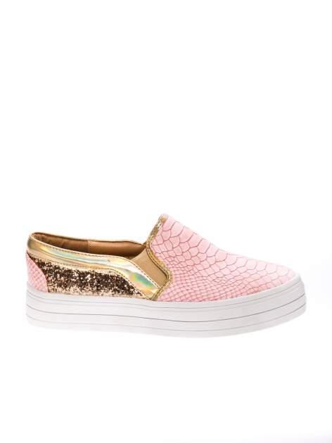 Różowe buty slip on imitujące skórę krokodyla z efektem glitter                                  zdj.                                  1
