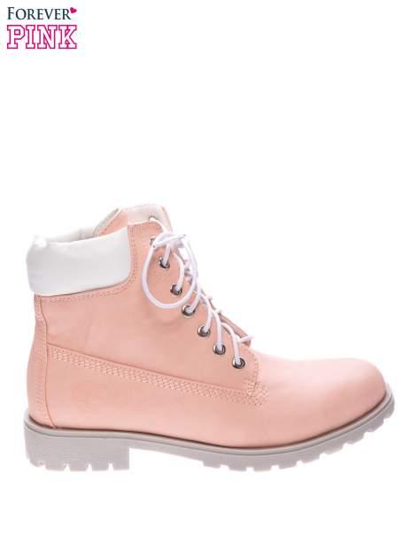 Różowe buty trekkingowe damskie typu timberki                                  zdj.                                  1