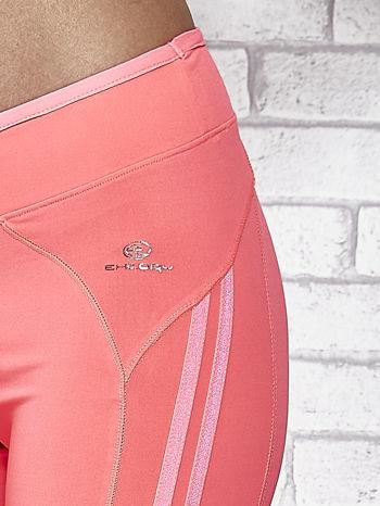 Różowe legginsy 3/4 sportowe termalne z lampasami                                  zdj.                                  7