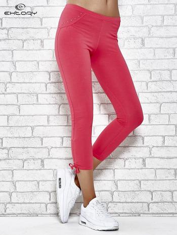 Różowe legginsy sportowe 7/8 z wiązaniem                                  zdj.                                  1