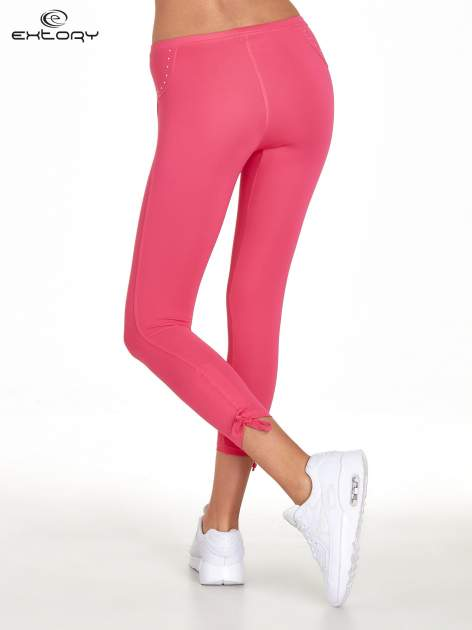 Różowe legginsy sportowe termalne z dżetami i ściągaczem                                  zdj.                                  3